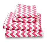 Colorful Pink Chevron Full Sheets Breathe 50% Better Than Cotton and Are Made from Super Soft High Quality Microfiber That Is as Soft as 1500 Thread Count Cotton and Will Not Ball Up, Shrink or Wrinkle; As a Bonus Feature, this Great Pink Chevron Full She
