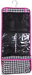 Hanging Cosmetic Makeup Toiletry Bag Case Hot Pink Trim Black White Houndstooth Print by Private Label