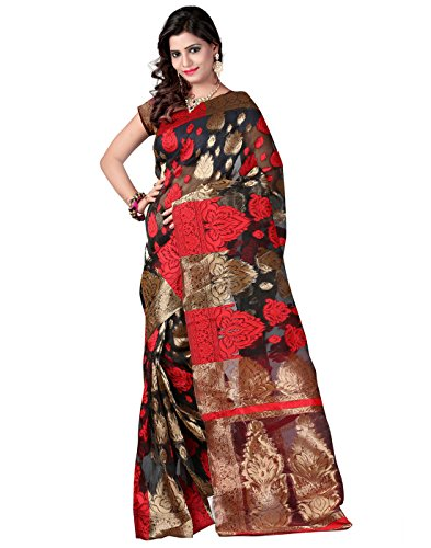 Silk Black Indian Bollywood Women Finery Sari Saree