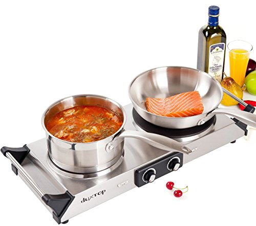 DUXTOP 1800W Pocket-sized Electric Cast Iron Cooktop Countertop Burner (Double)