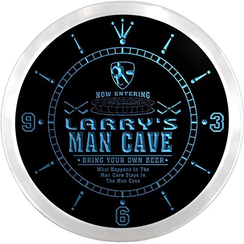 Ncqe0029-B Larry'S Ice Hockey Mave Cave Den Beer Bar Led Neon Sign Wall Clock