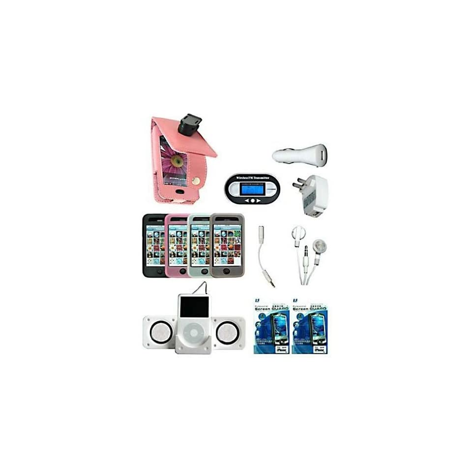 13 piece FULL ACCESSORY BUNDLE SET for Apple iPhone 1st Generation iPhone Pink Flip Leather Case + Pink silicone skin case + Clear Silicone skin case + Smoke Silicone skin case+ Black Silicone skin case+ FM Transmitter + Foldable Speaker + USB Wall Charge