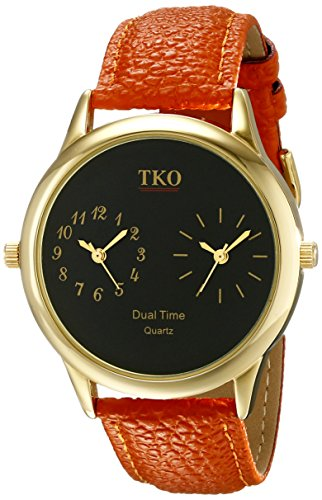 Tko Orlogi Unisex Tk657 Duel Time Traveler Analog Display Quartz Orange Watch
