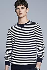 Bridge Cotton Crewneck Sweater With Stripe Detail