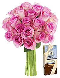 Bouquet of Long Stemmed Pink Roses (Dozen and a Half) and Scharffen Berger Chocolate - Without Vase