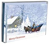 Tree-Free Greetings Sleigh Bells Ring Holiday Boxed Cards, 5 x 7 Inches, 12 Cards and Envelopes per Set, Multi-Color (91172)
