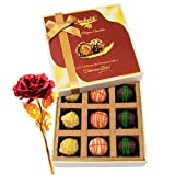 Sparking Collection Of Yummy Chocolates With 24k Red Gold Rose - Chocholik Luxury Chocolates