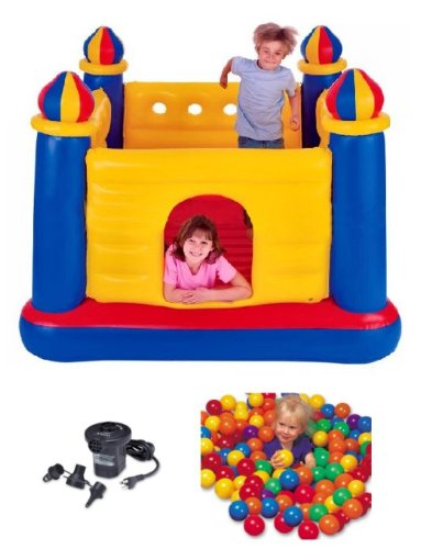 Intex Inflatable Jump-O-Lene Ball Pit Castle Bouncer W/ Air Pump & Plastic Balls