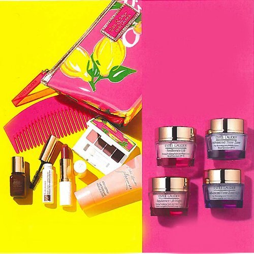 Estee Lauder 2013 Gift Set $165 Value Including Skincare Day And Night Cream Serum Lipstick Mascara With White...
