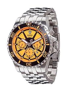 Detomaso San Marino- reloj hombre- automático- acero- sumergible- 20-atm- naranja- nuevo
