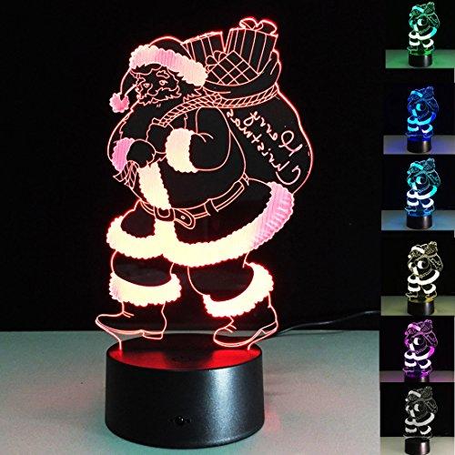 UKGOOD nuova illusione ottica USB 3D creativa LED di Natale Babbo l'illuminazione della decorazione della lampada della luce per tempo di vacanza di Natale, luce perfetta di notte per i bambini, splendida illuminazione decorativa lampada da tavolo di umore per adulti (Style 2)