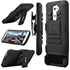 LG G2 Case, ULAK Rugged Hybrid Impact Hard Rubber Cover Case for LG G2 With Belt Swivel Clip Holster (AT&T D800, T-Mobile D801,Global D802)-Black