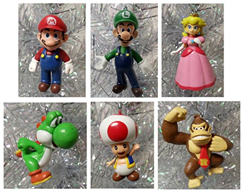 "Super Mario Brothers 6 Piece Christmas Holiday Ornament Set Featuring Mario, Luigi, Donkey Kong, Yoshi, Toad and Princess Peach - Shatterproof Ornaments Range From 1.5"" to 3"" Tall"