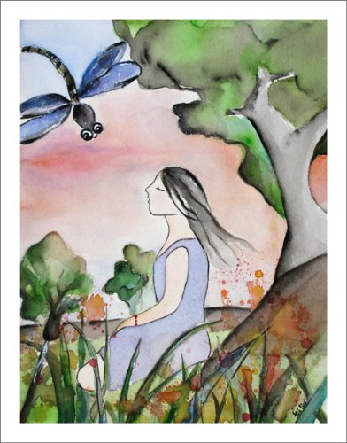 Dragonfly Watercolor Art Prints Girl Meditation Artwork, Matted to 11
