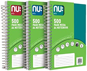 Nu Era Mega A4 500 Page Notebook Assorted Colours Pack