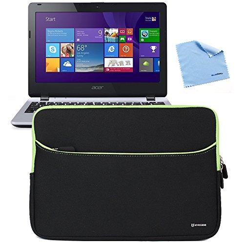 Evecase Slim Padded Neoprene Carrying Sleeve Case Computer Bag For Acer Aspire E11 / E3-111, Aspire V11 V3-111P Laptop 11.6-Inch Touchscreen Notebook - Black/Green + Microfiber Cloth