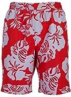 bugatti® - moderne Herren Badeshort mit Blumenmuster in schwarz/jade oder rot/hellgrau