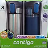 2 pk Contigo Pinnacle Thermal 14 oz Travel Mug Leak Spill Proof with Vacuum Insulated Body (Blue)