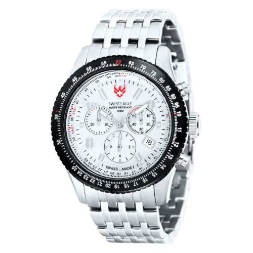 Swiss Eagle Flight Deck Men's Quartz Watch with White Dial Analogue Display and Silver Stainless Steel Strap SE...