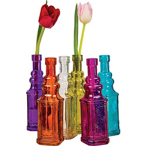 Luna bazaar small vintage bottle set 7 inch multicolor for Jardin glass vases 7 in