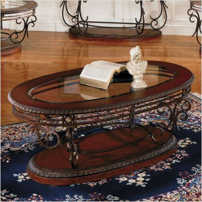 Standard Crescendo Oval Brown Wood Glass Top Coffee Table