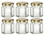 Nakpunar 6 pcs , 1.5 oz Mini Hexagon Glass Jars for Jam, Honey, Wedding Favors, Shower Favors, Baby Foods, DIY Magnetic Spice Jars