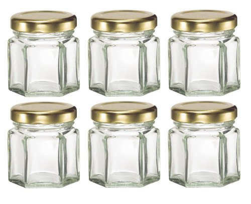 Nakpunar 6 pcs , 1.5 oz Mini Hexagon Glass Jars for Jam, Honey, Wedding Favors, Shower Favors, Baby Foods, DIY Magnetic Spice Jars (6 Glass Jars compare prices)