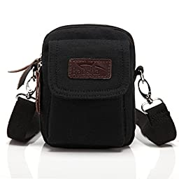 BAOSHA YB-02 Multi Purpose Vintage Small Canvas Messenger Cross Body Bag Pack Organizer Shoulder Bag can be used as Security Money Waist Bag Pouch Black