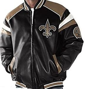 NFL New Orlean SAINTS Team Leather-Like Jacket ~ LARGE by G 111