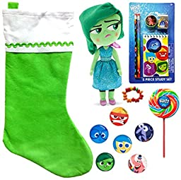 Disney Inside Out Disgust Holiday Christmas Stocking Gift Bundle (14 Pieces)