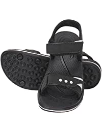 Indian Style Ks46 Comfortable Soft Synthetic Black With White Strips Sandle For Men