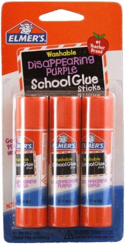 Elmer'S Disappearing Purple School Glue Sticks, 0.21 Oz Each, 3 Sticks Per Pack (E520) front-366170