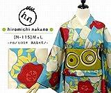 プレタ 袷 洗える着物 ナカノ ヒロミチ N-115/水色地:ツバキ文様 (Mサイズ)