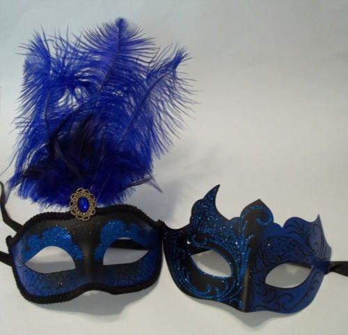 [Blue Black Couples Man Woman Masquerade Mardi Gras Male Female Set Feather Masks] (Blue Mardi Gras Mask)