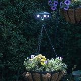 Solar Hanging Flower Basket Light with 5 bright white LEDS