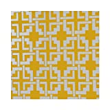 Outdoor Canvas Geometric Puzzle Tablecloth 58x72- Yellow
