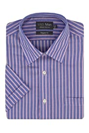 Ultimate Non-Iron Pure Cotton Short Sleeve Striped Oxford Shirt [T11-8667-S]