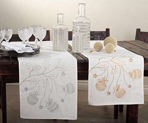 Christmas Holiday Embroidered Boules De Noel X'Mas Table Runner (Silver)