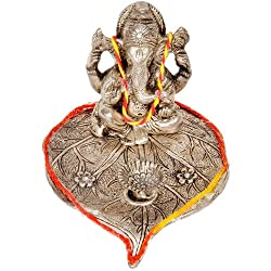 Little India White Metal Lord Ganesha Pretty Pooja Idol (17.78 cm x 13.97 cm x 8.89 cm)