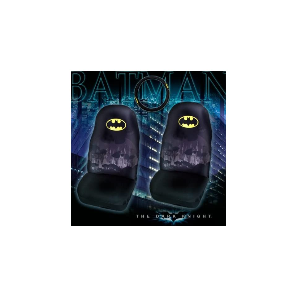 3 Piece Dark Knight Batman Automotive Interior Gift Set   2 Universal fit Front Bucket Seat Covers and One Comfort Grip Steering Wheel Cover