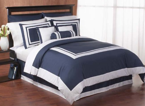 Navy Hotel Spa Collection Duvet Comforter Cover 6 piece Bedding Set - Available in King and Queen