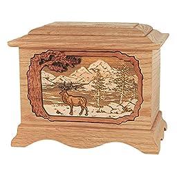 Wood Cremation Urn - Oak Elk Ambassador