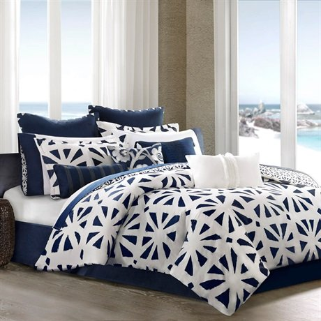 Echo African Sun Comforter Set, Queen, Egret/Dress Blues