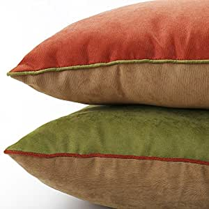 Brown Corduroy Throw Pillow : DOZZZ 2 Pack Indoor/Outdoor Accent Pillow Corduroy Throw Pillow Set for Couch Pillow Square ...