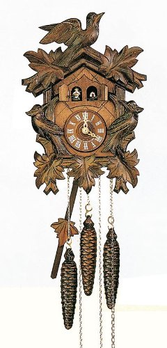 Schneider Black Forest 12 Inch Musical Three Birds and Five Leaves Cuckoo Clock