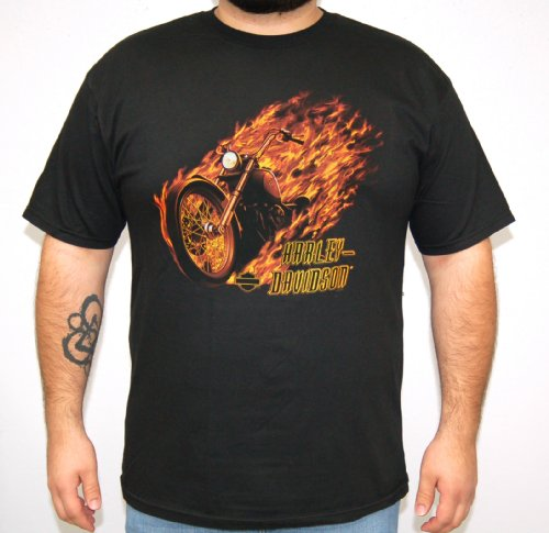 Harley-Davidson Mens Flamed Bike Black Short Sleeve T-Shirt (2X-Large)