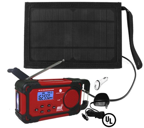 Ambient Weather Wr-334A-U-Solarbag Emergency Solar Hand Crank Weather Alert Radio, Flashlight, Siren, Smart Phone Charger And Solar Bag Kit