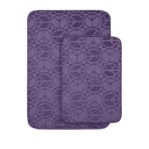 Garland Rug Peace 2-Piece Bath Rug Set, Purple front-991021