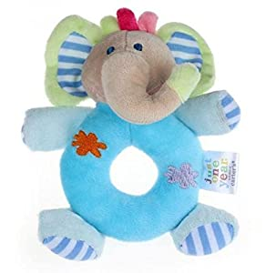14*13cm Baby Girls Boy Infant Mini Hand Rattle Animal Soft Plush Doll Educational Toys Stuffed & Plush Animals (Elephant Blue)
