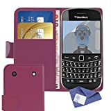 ITALKonline BlackBerry 9900 Bold Touch Purple PU Leather Executive Multi-Function Wallet Case Cover Organiser Flip with Credit / Business Card Money Holder and 3 Layer LCD Screen Protector